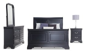 Louie Louie Full Black Bedroom Set