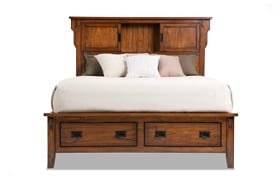 Mission Oak II Queen Bookcase Storage Bed