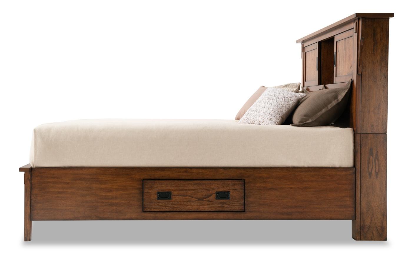 Mission Oak II Full Bookcase Storage Bed