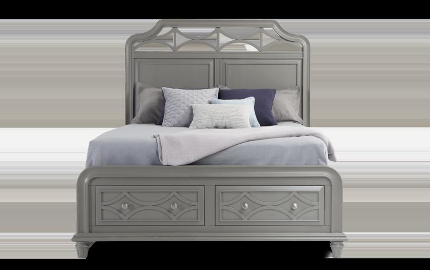 Mystic Bay Queen Gray Storage Bed