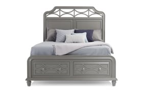 Mystic Bay King Gray Storage Bed