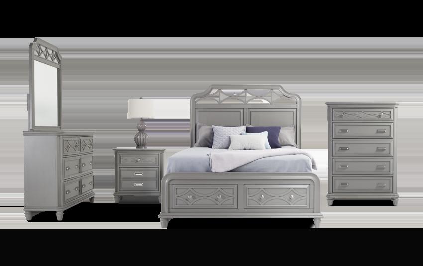 Mystic Bay King Gray Storage Bedroom Set