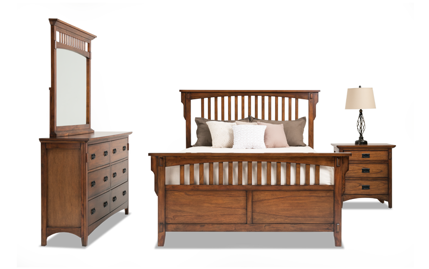 mission oak ii panel bedroom set - Oak Bedroom Sets