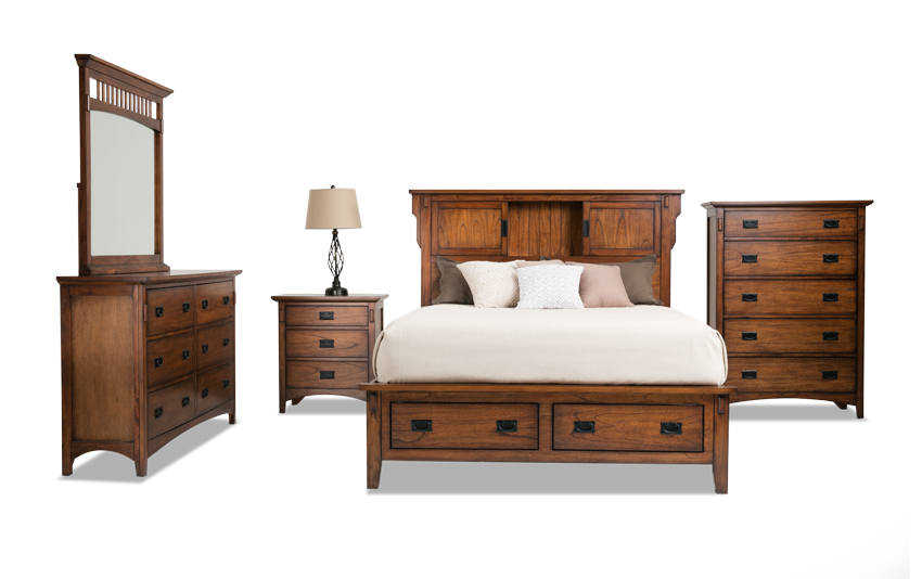 Mission Oak II Storage Bed with Dresser, Mirror, Chest & Nightstand
