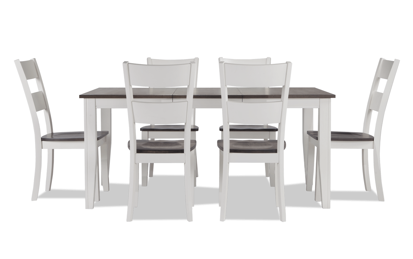 Blake Gray White 7 Piece Dining Set, Grey And White Dining Room Table With Bench