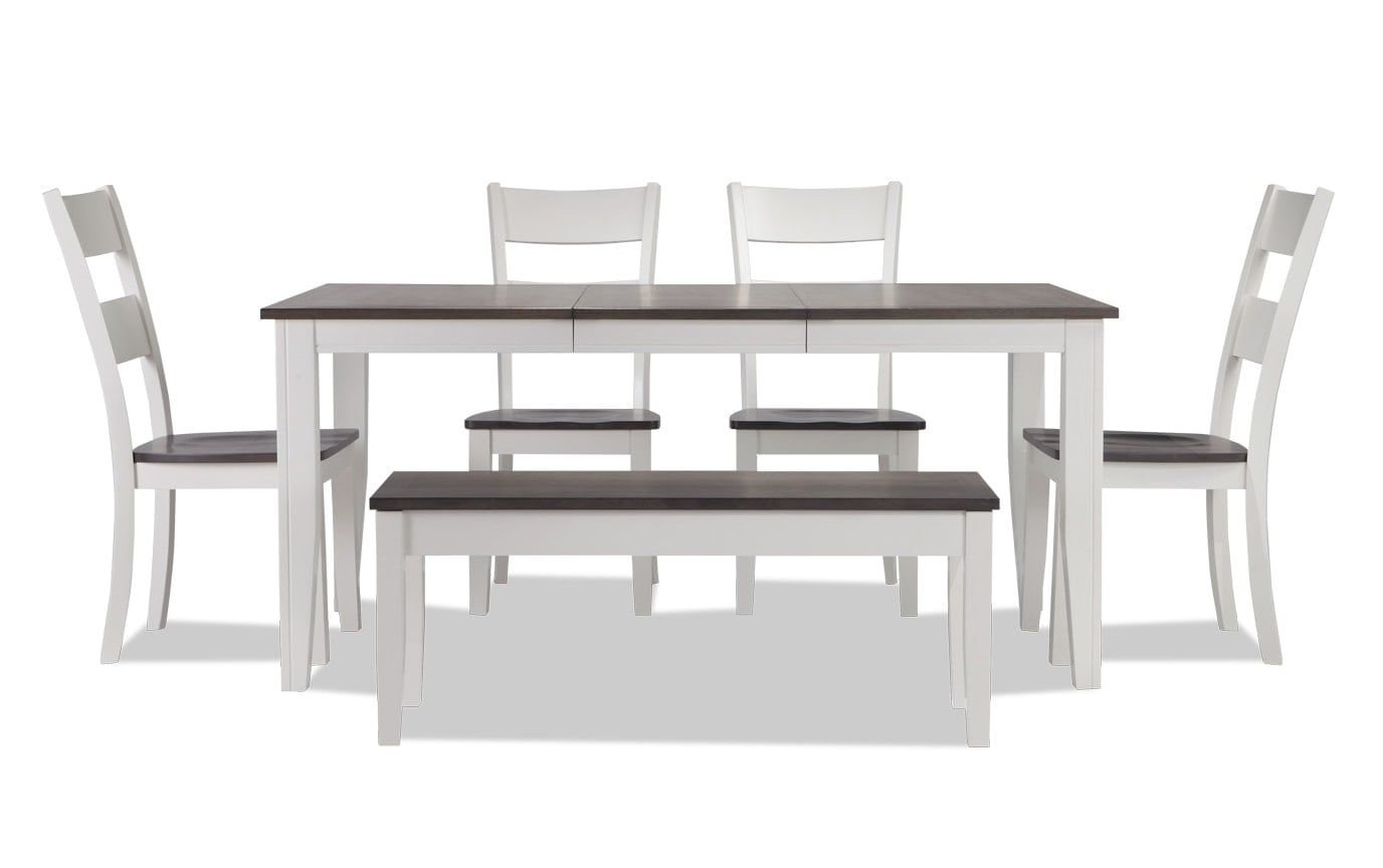 Blake Gray 6 Piece Dining Set With Storage Bench Bobs Com