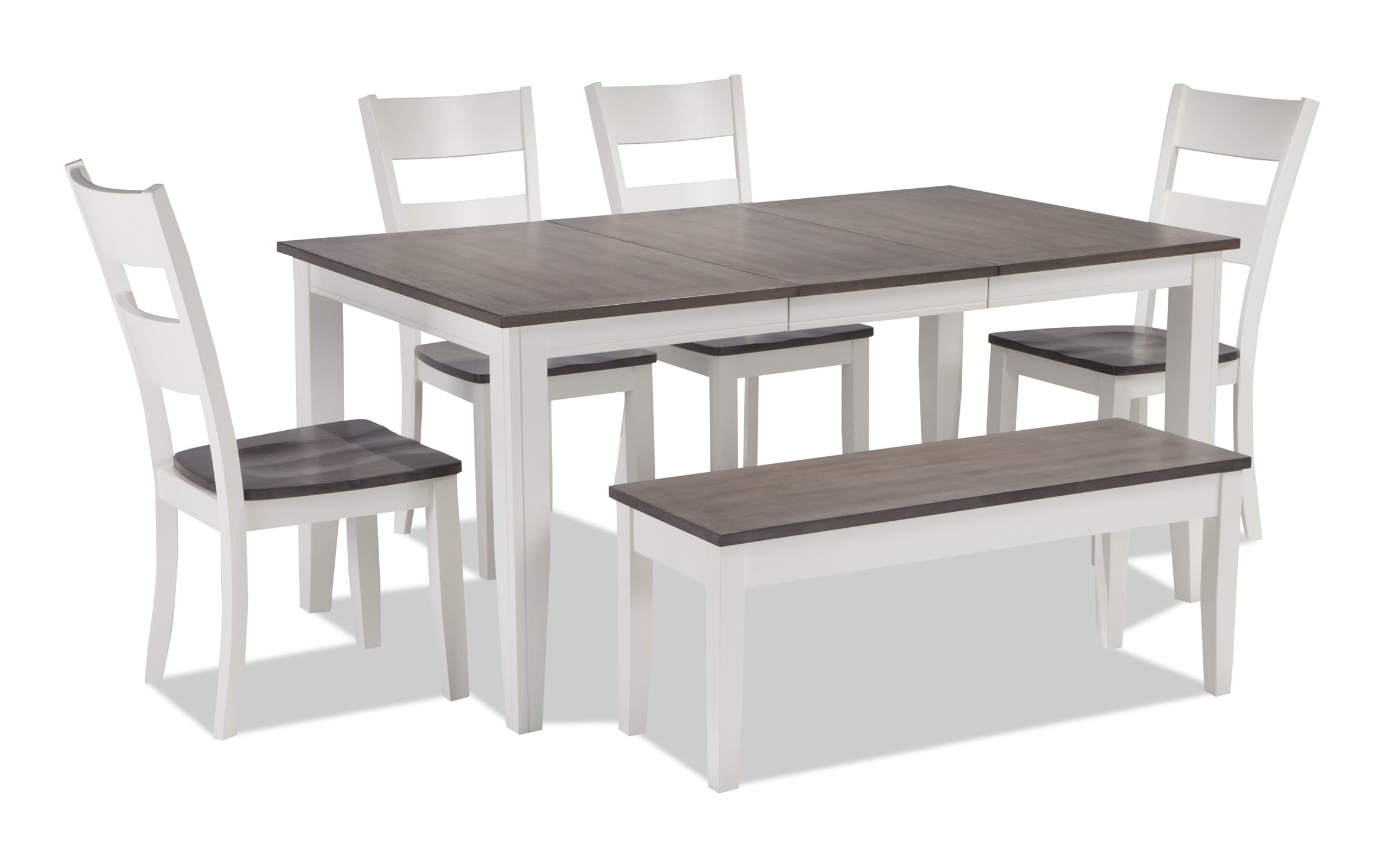Blake Gray White 6 Piece Dining Set With Storage Bench Bobs Com