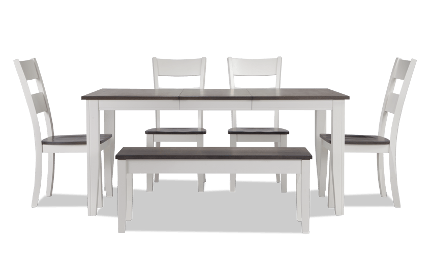 Blake Gray Amp White 6 Piece Dining Set With Storage Bench