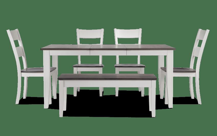 Blake Gray & White 6 Piece Dining Set with Storage Bench