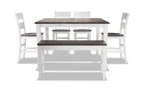 Blake Gray & White 6 Piece Counter Set with Storage Bench