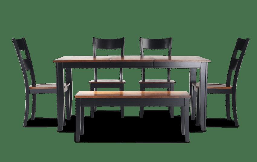 Blake Cherry & Black 6 Piece Dining Set with Storage Bench