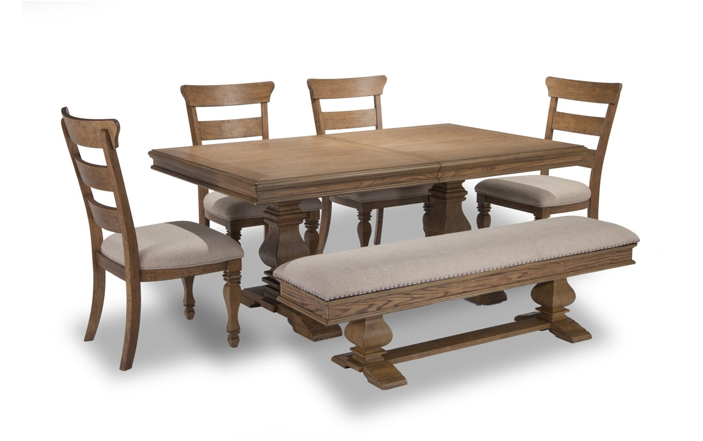 Riverdale 6 Piece Set with Storage Bench & Wood Side Chairs