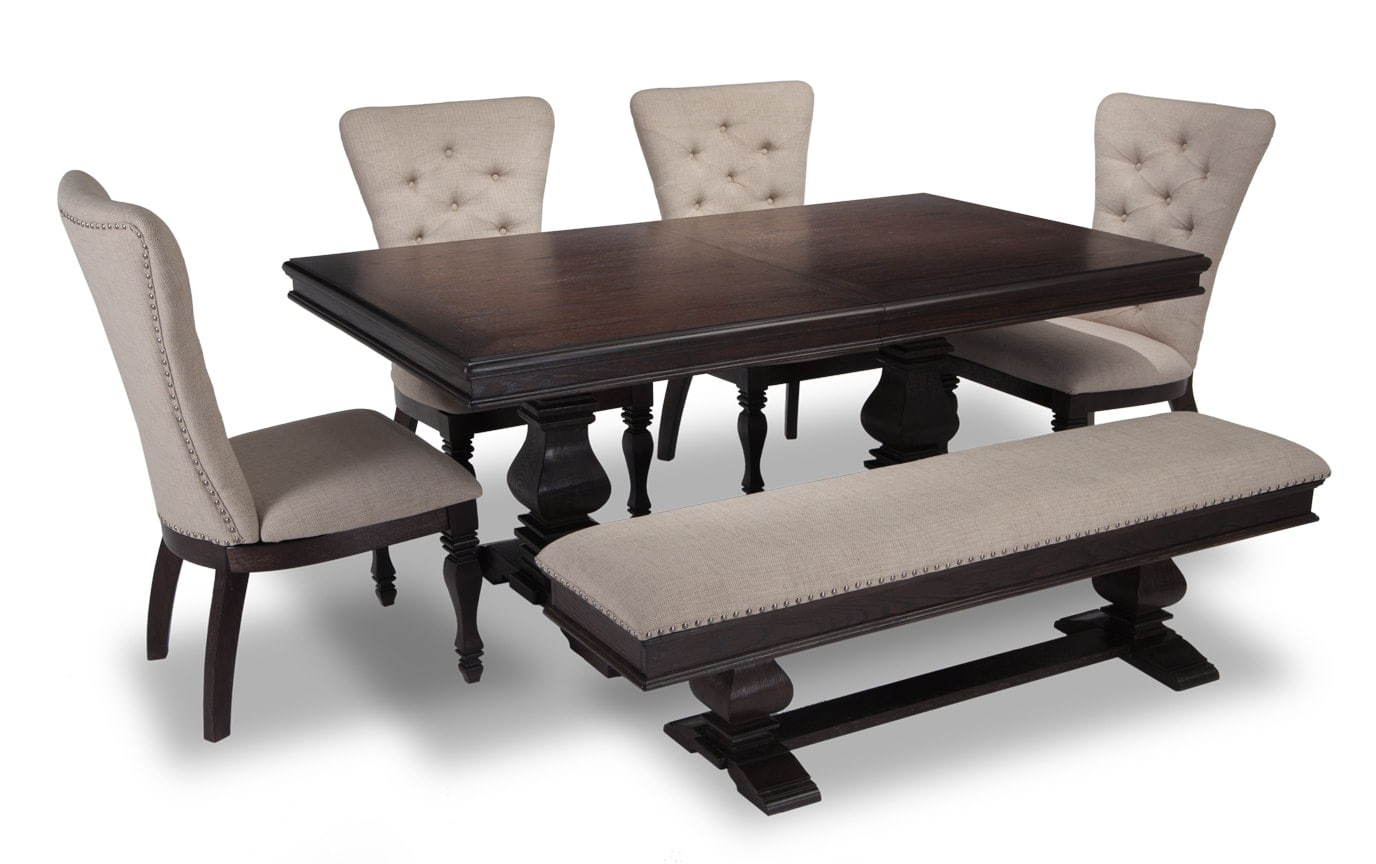 Riverdale 6 Piece Dining Set with Storage Bench & Upholstered Chairs