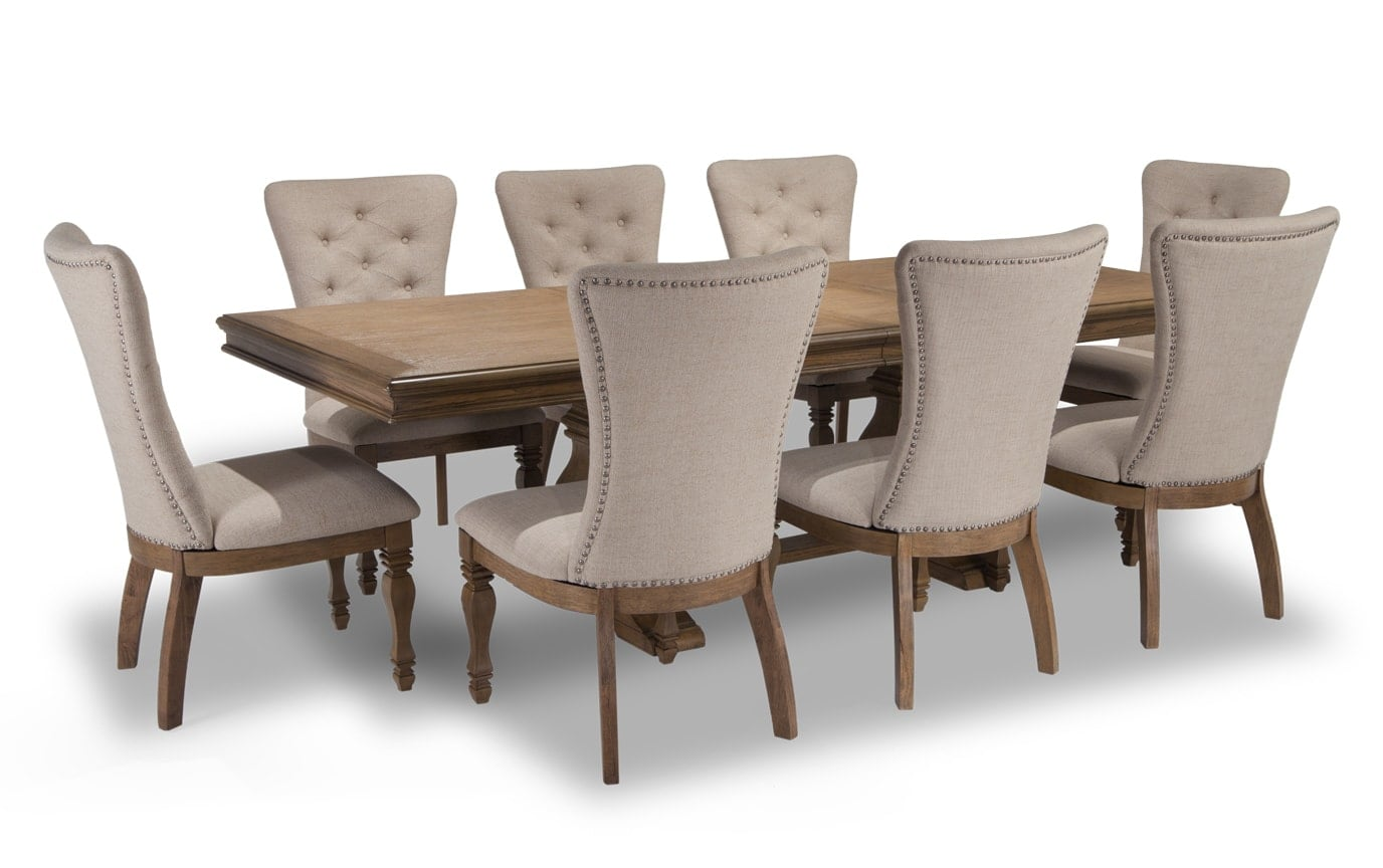 Riverdale 9 Piece Dining Set with Upholstered Chairs
