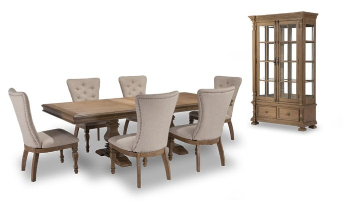 Riverdale 8 Piece Dining Set With Curio U0026 Upholstered Chairs