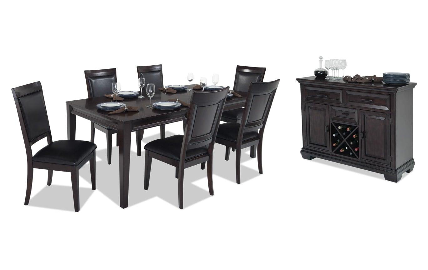 matrix 8 piece dining set bob 39 s discount furniture. Black Bedroom Furniture Sets. Home Design Ideas
