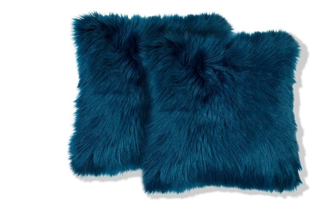 Set of 2 Lavish Navy Fur Pillows