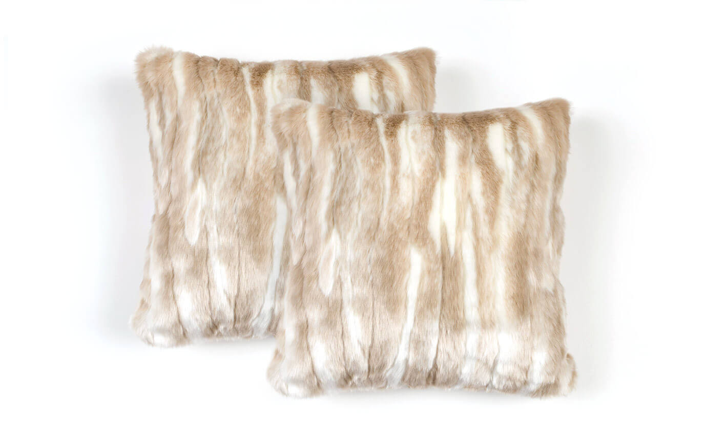 Set of 2 Plush Cream Fur Pillows