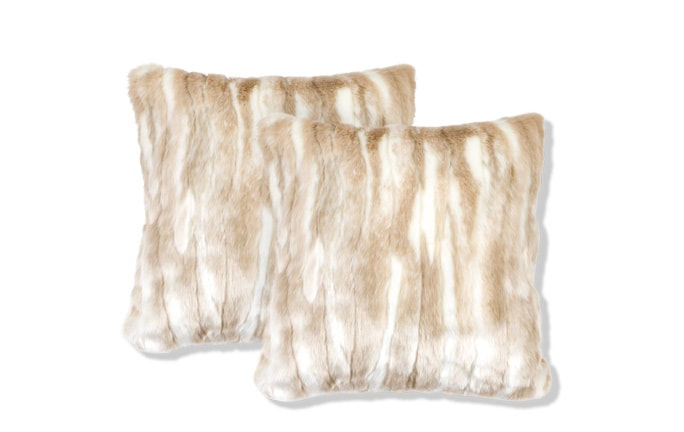 Set of 2 Plush Cream Fur Pillows