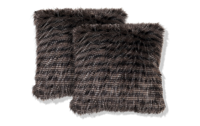 Set of 2 Black Faux Feather Pillows