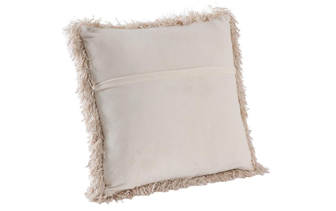 Set of 2 Beige Ribbon Shag Pillows