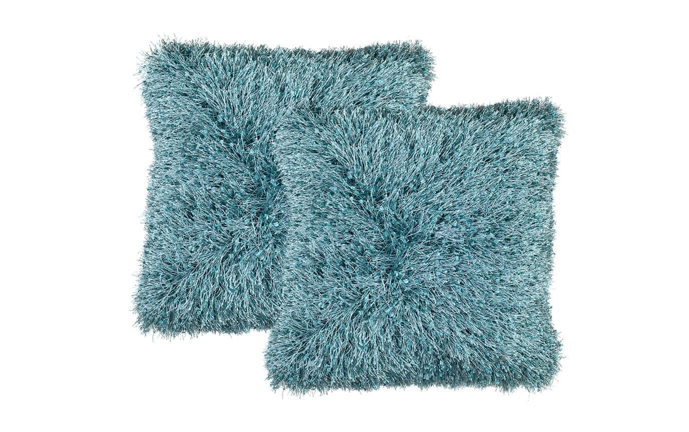 Set of 2 Eyelash Shag Teal Pillows