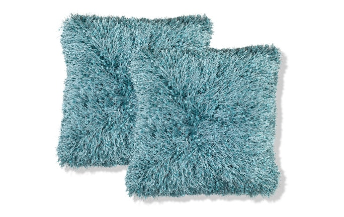Set of 2 Eyelash Shag Teal Pillows