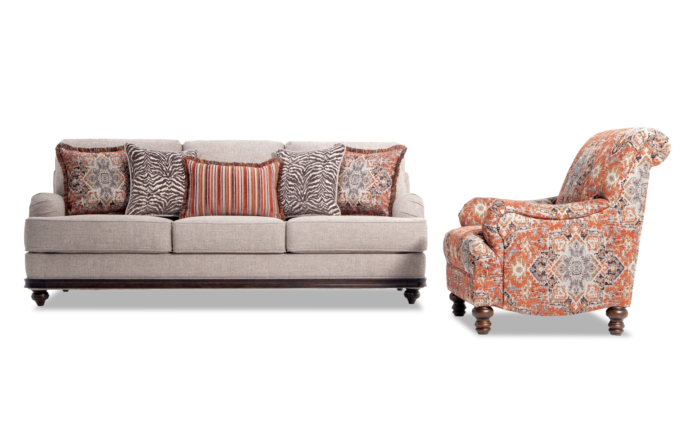 Cora Sofa & Medallion Accent Chair