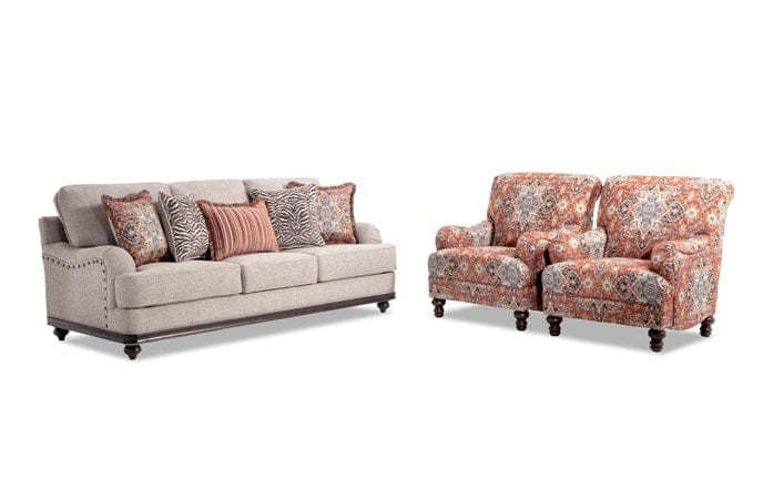 Cora Sofa & 2 Medallion Chairs