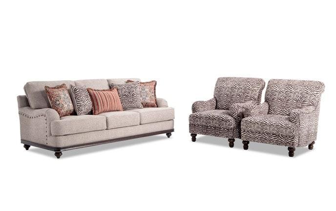 Cora Sofa & 2 Zebra Chairs