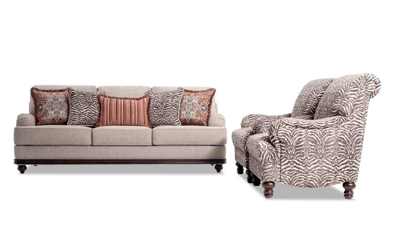 Cora Sofa & 2 Zebra Chairs