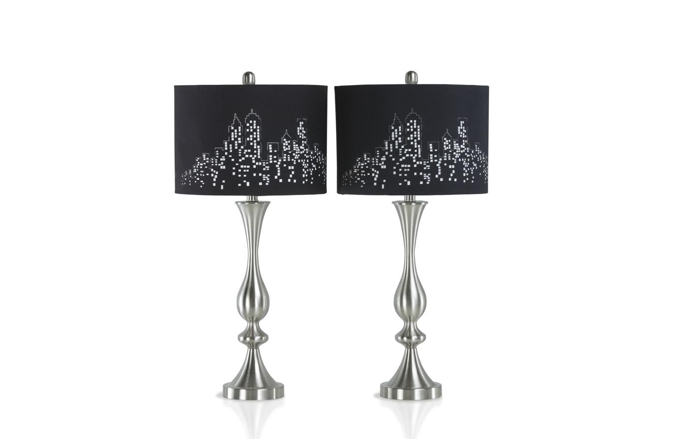 Set of 2 City Skyline Lamps