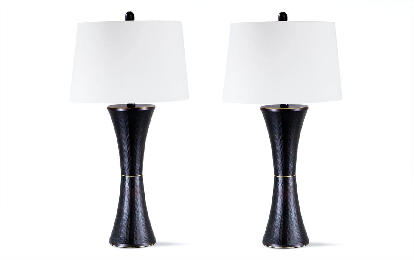 Set of 2 Hammered Bronze Lamps