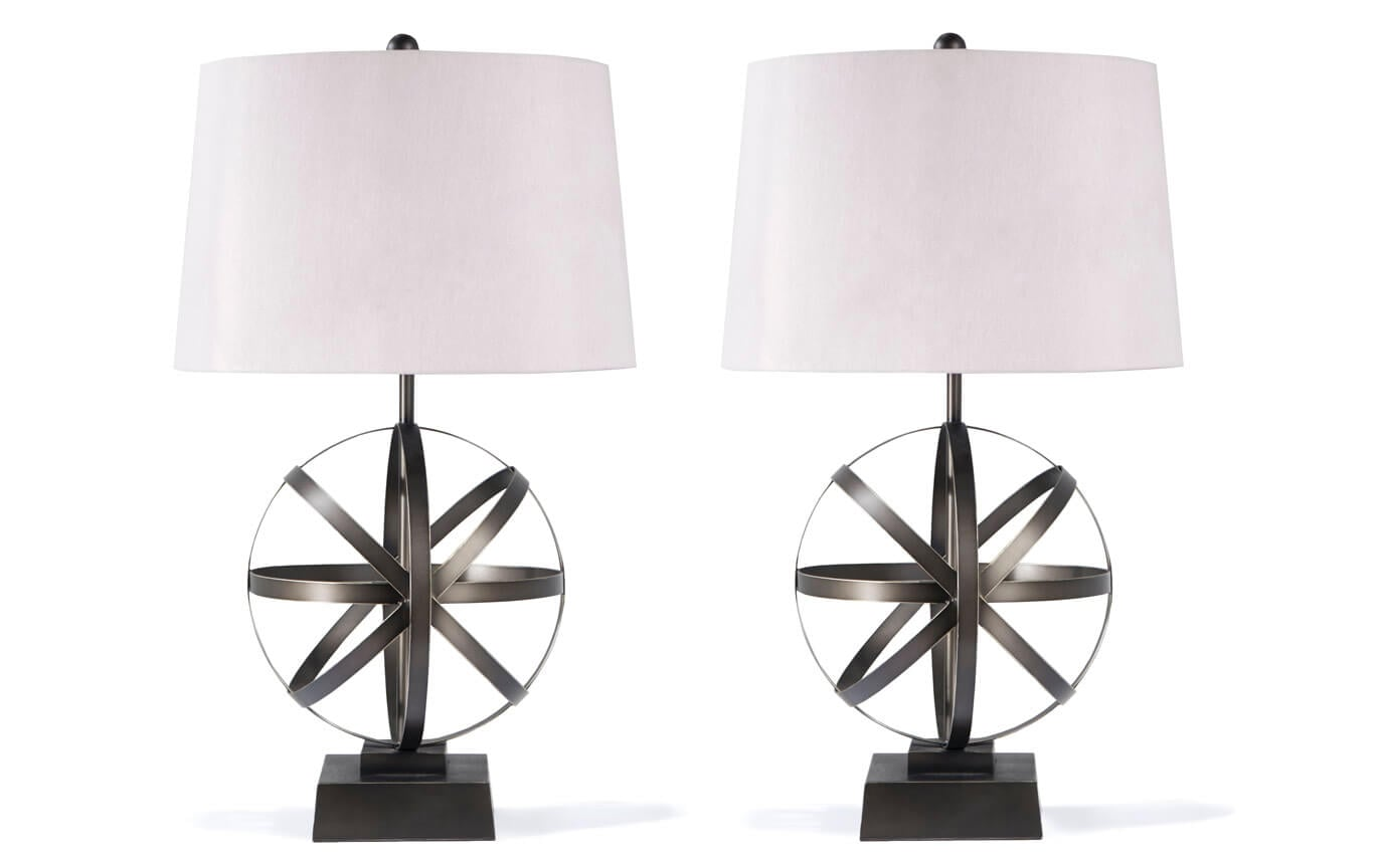 Set of 2 Axis Metal Lamps