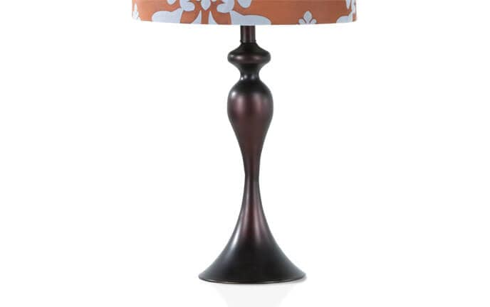 Set of 2 blue brown damask lamps