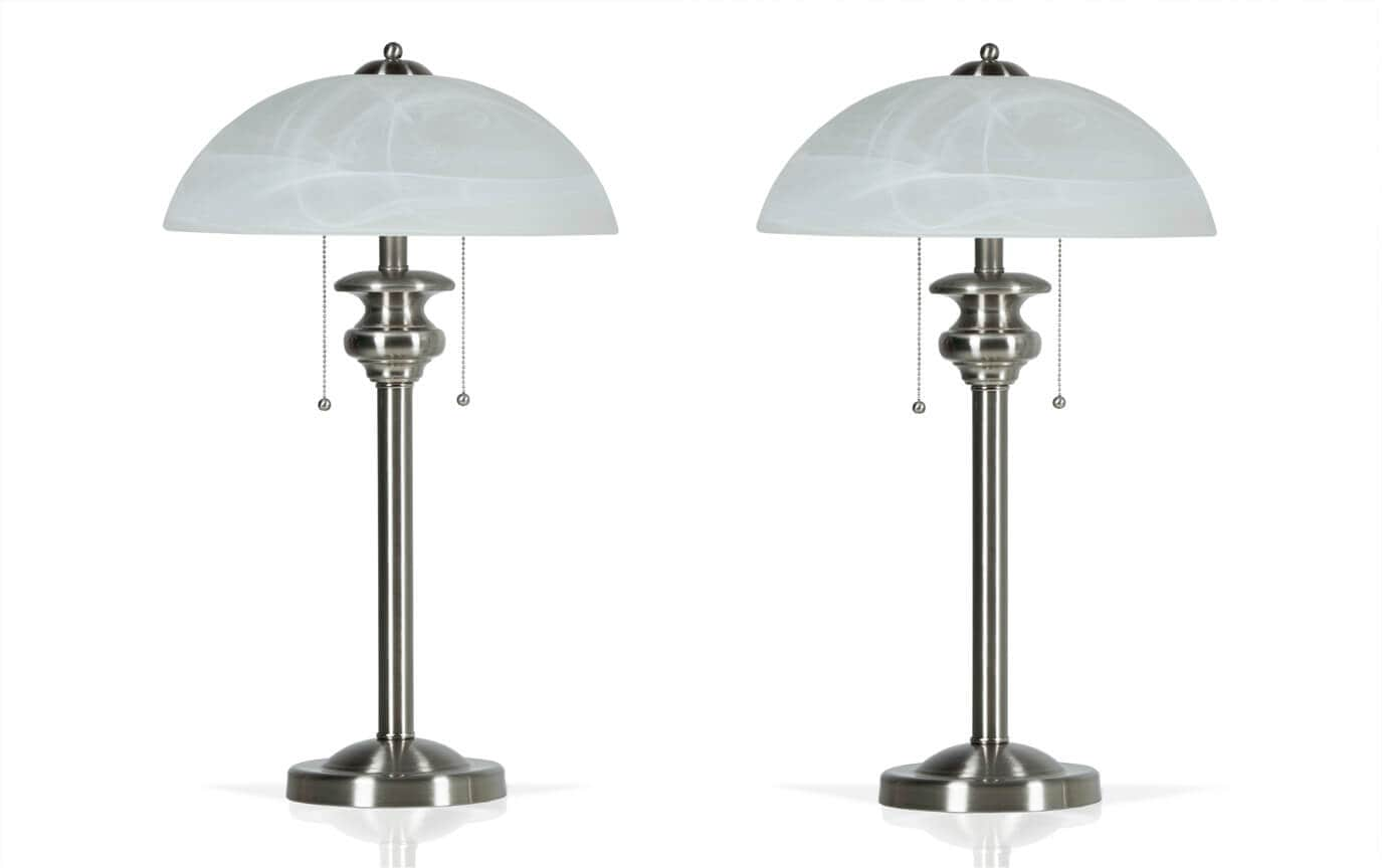 Set of 2 Brushed Nickel Desk Lamps