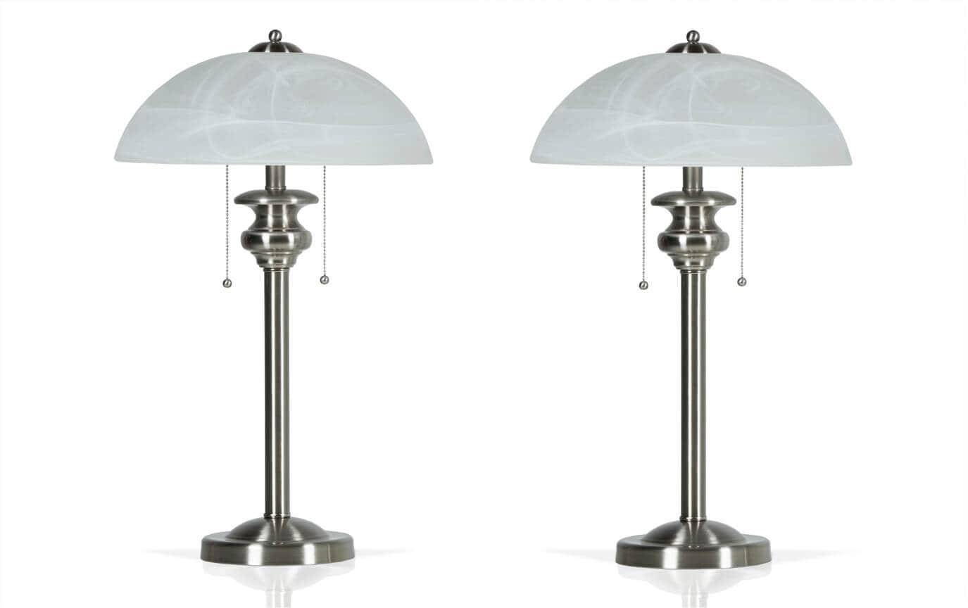 Set of 2 Brushed Nickel Desk Lamps