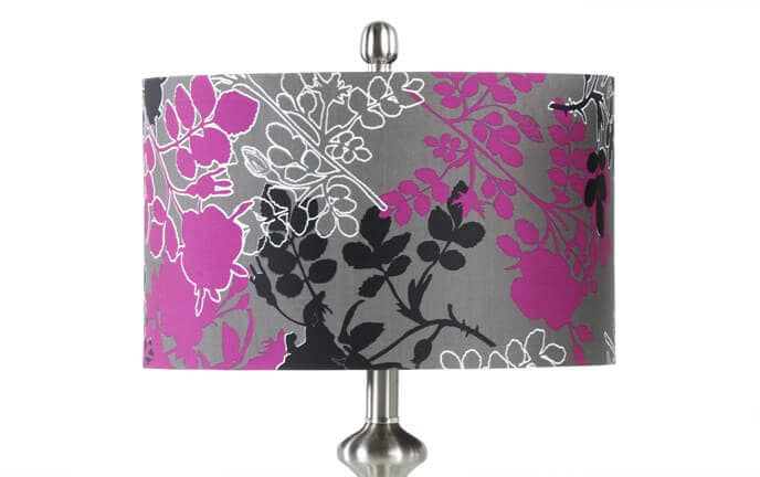 Set of 2 Purple & Gray Floral Lamps