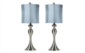 Set of 2 Blue Shadow Damask Lamps