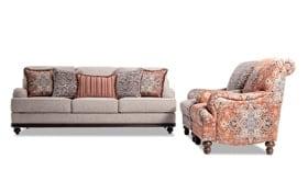 Cora Sofa, Medallion & Zebra Accent Chairs