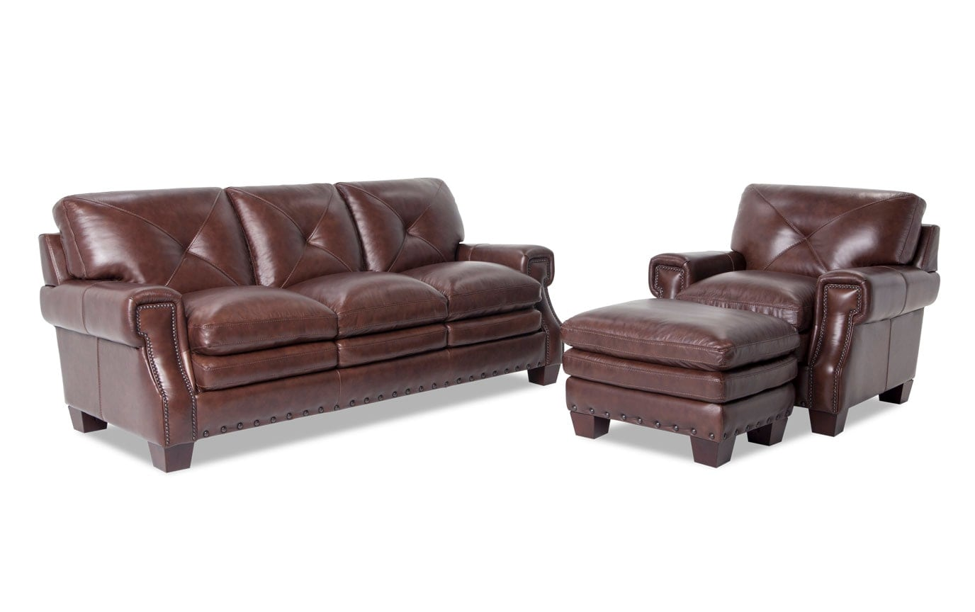 Kennedy Leather Innerspring Queen Sleeper, Chair & Ottoman