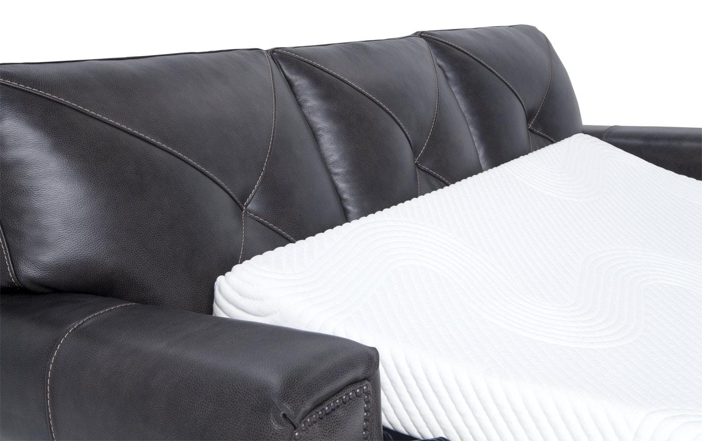Kennedy Gray Leather Bob-O-Pedic Gel Queen Sleeper Sofa, Chair & Ottoman