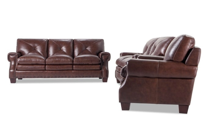 Kennedy Leather Innerspring Queen Sleeper, Loveseat & Chair