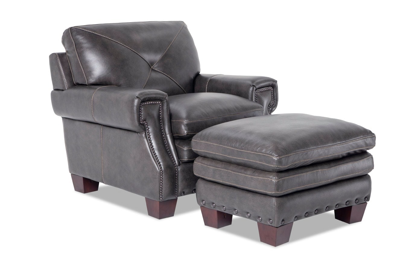 Kennedy Gray Leather Chair & Ottoman