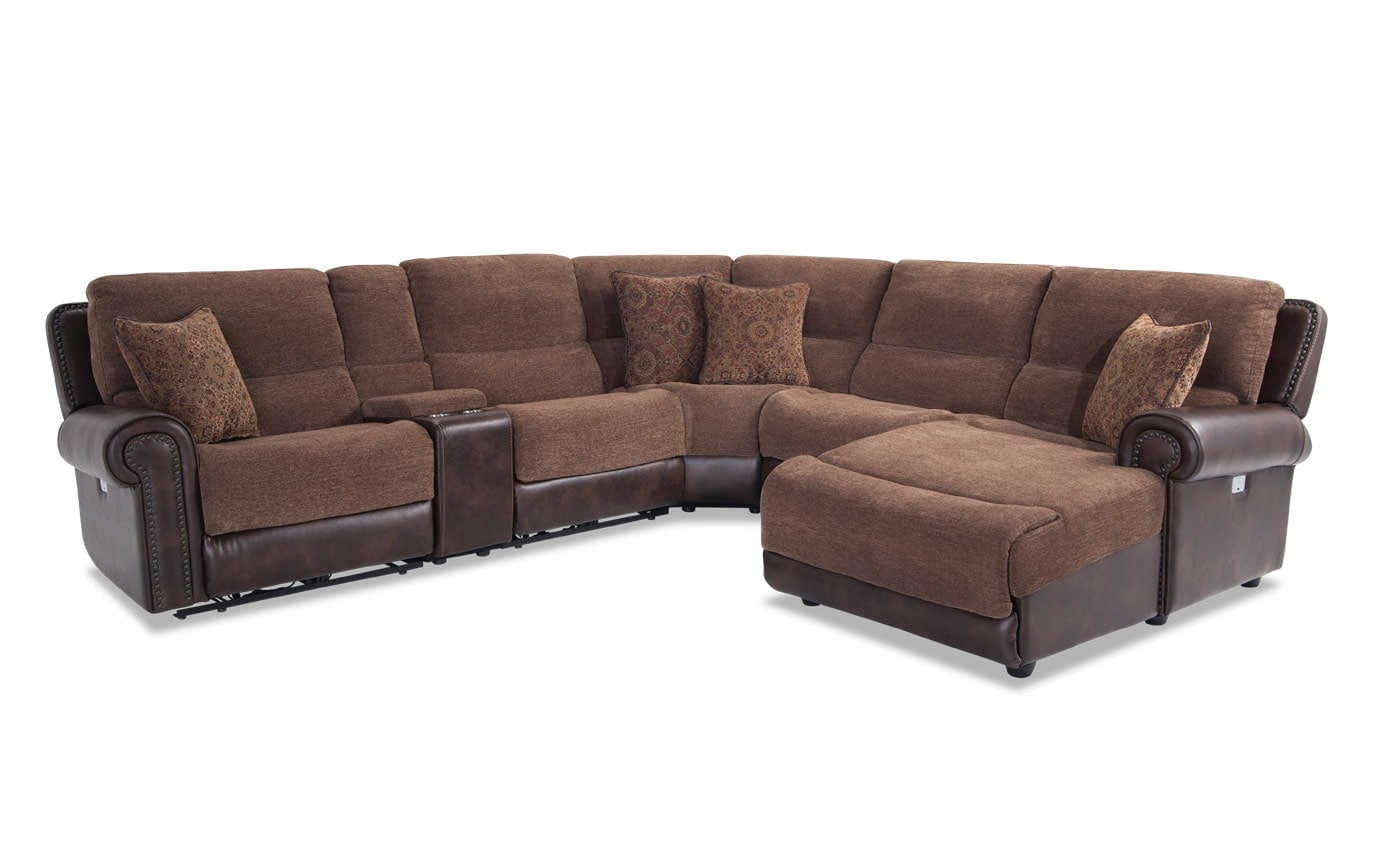 Dallas 6 Piece Power Reclining Left Arm Facing Sectional Bobs Com