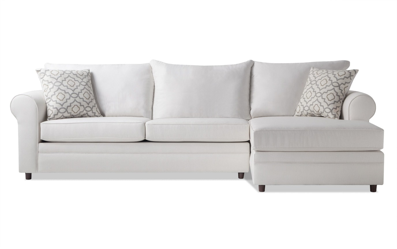 Emma Beige Stripe Left Arm Facing Sectional