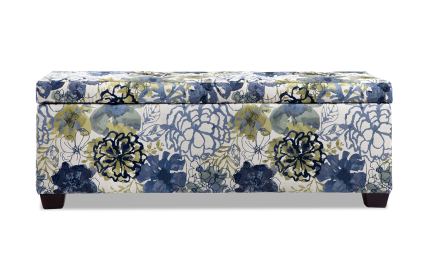 Anna Blue Floral Storage Bench