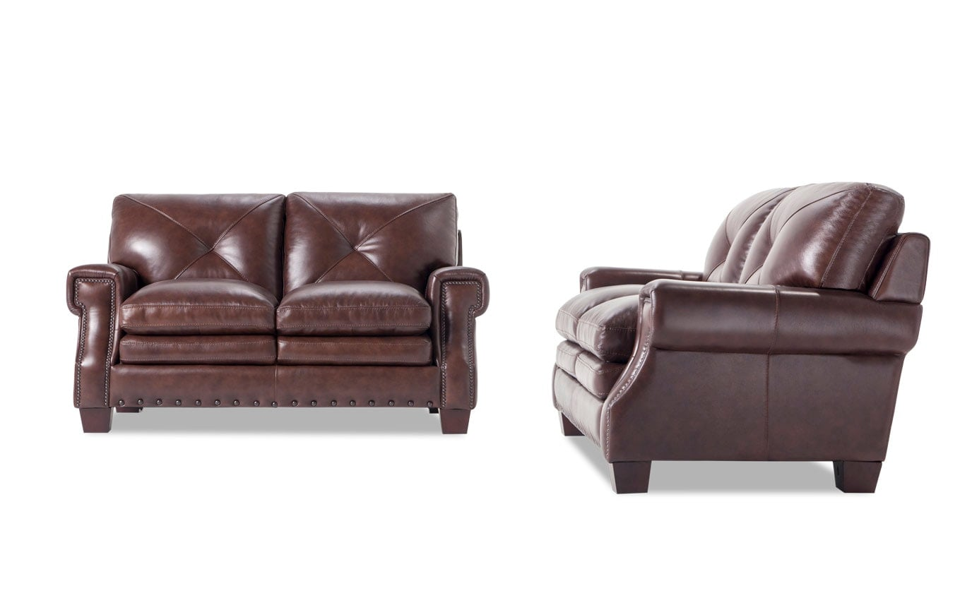 Kennedy Brown Leather Loveseat Set