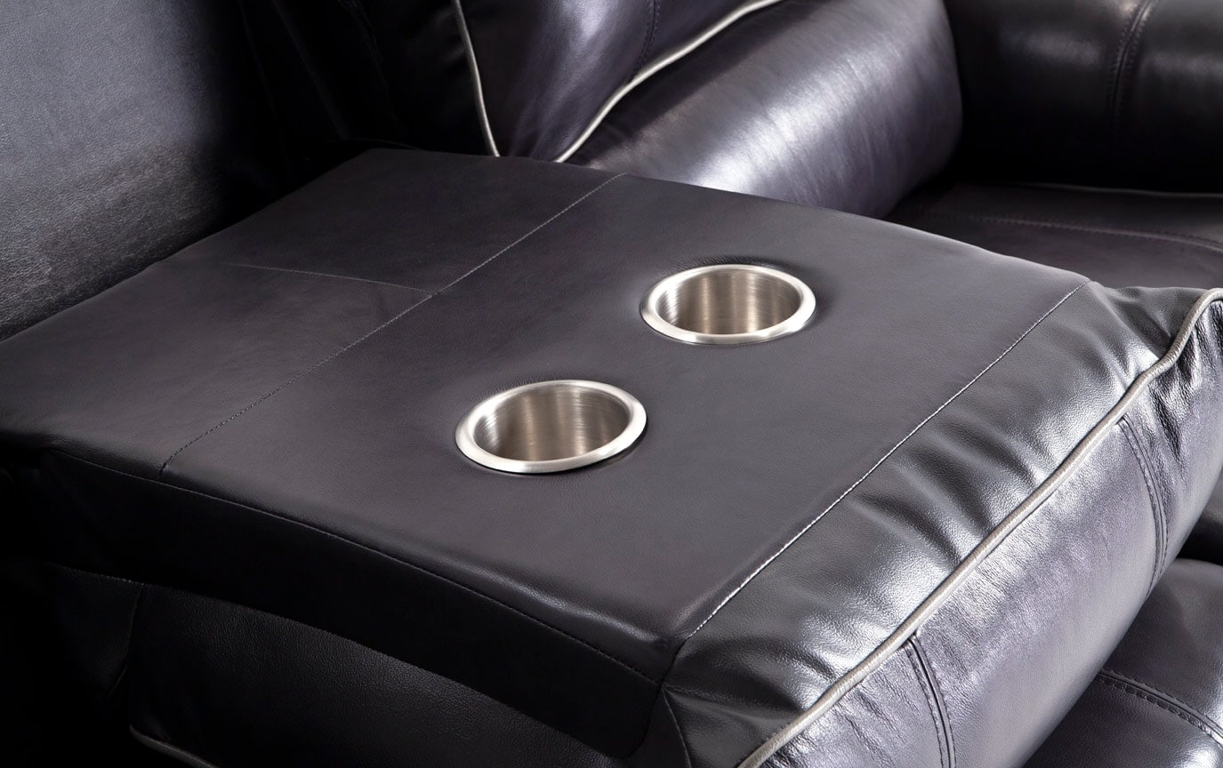 Phoenix Black Power Reclining Leather Sofa