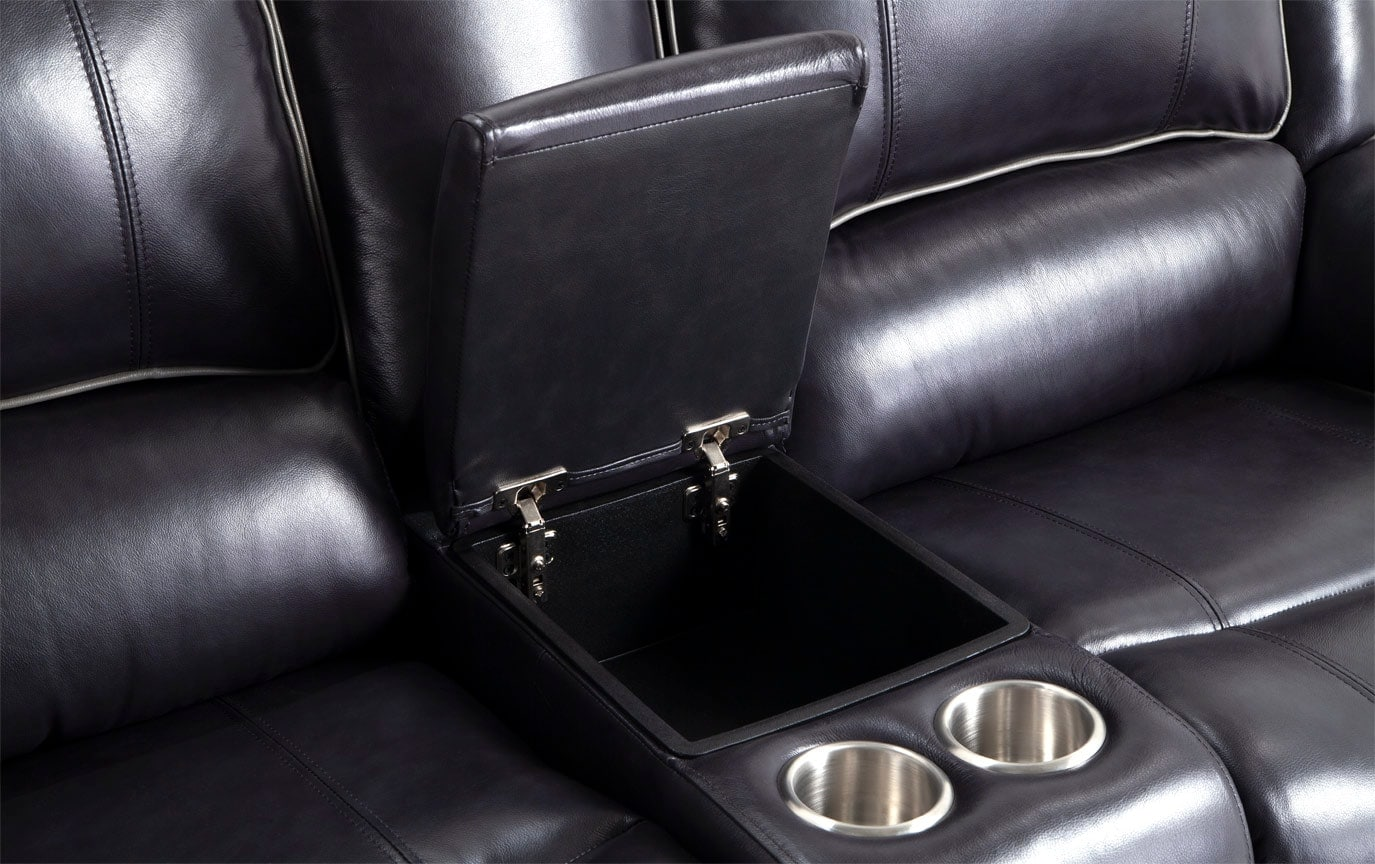 Phoenix Black Power Reclining Leather Console Loveseat